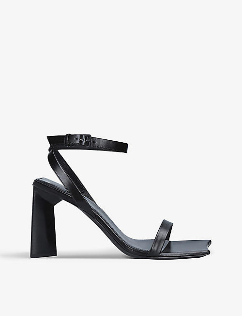 BALENCIAGA: Moon 90 leather block heel sandals