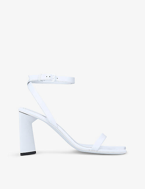 BALENCIAGA: Moon square-toe leather heeled mules