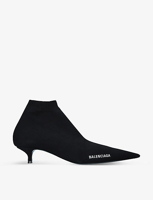 BALENCIAGA: Knife pointed-toe stretch-knit boots