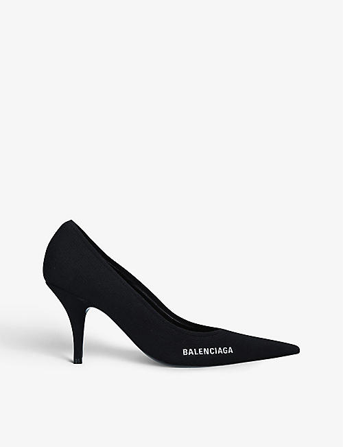 BALENCIAGA: Knife logo-printed knitted courts
