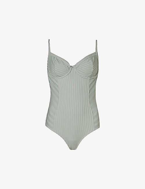 ALLSAINTS: Yuni scooped-neck ribbed bodysuit