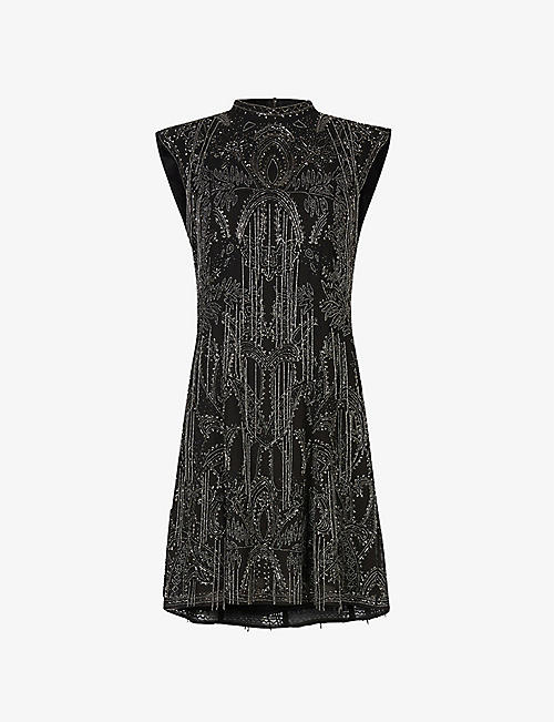 ALLSAINTS: Isla Ossia embellished mini dress