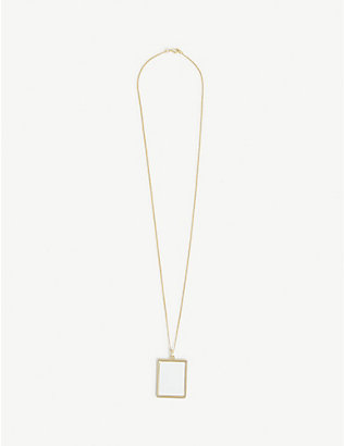 D'HEYGERE: White Board logo-engraved brass necklace