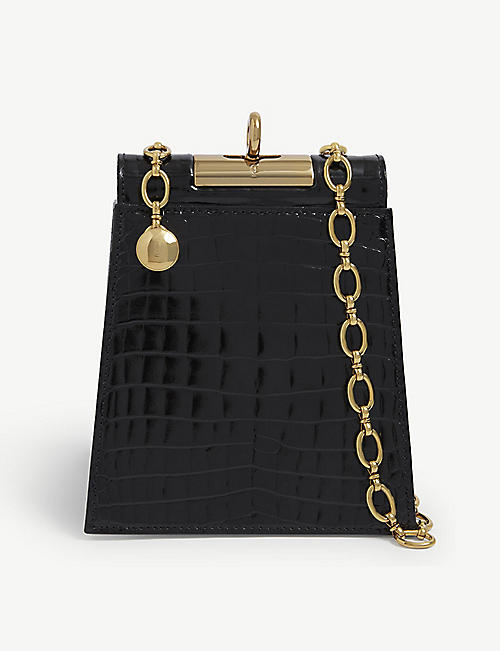 GU DE: Emma croc-embossed leather shoulder bag