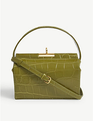 GU DE: Milky mini croc-embossed leather top-handle bag