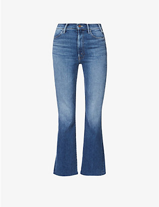 MOTHER: The Hustler Ankle Fray straight high-rise jeans