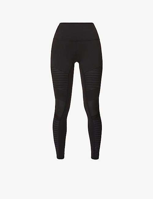 ALO YOGA: Moto high-rise stretch-jersey leggings