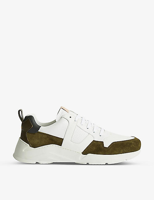 REISS: Shelton low-top leather running trainers