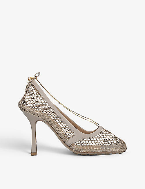 BOTTEGA VENETA: Heeled leather and mesh courts
