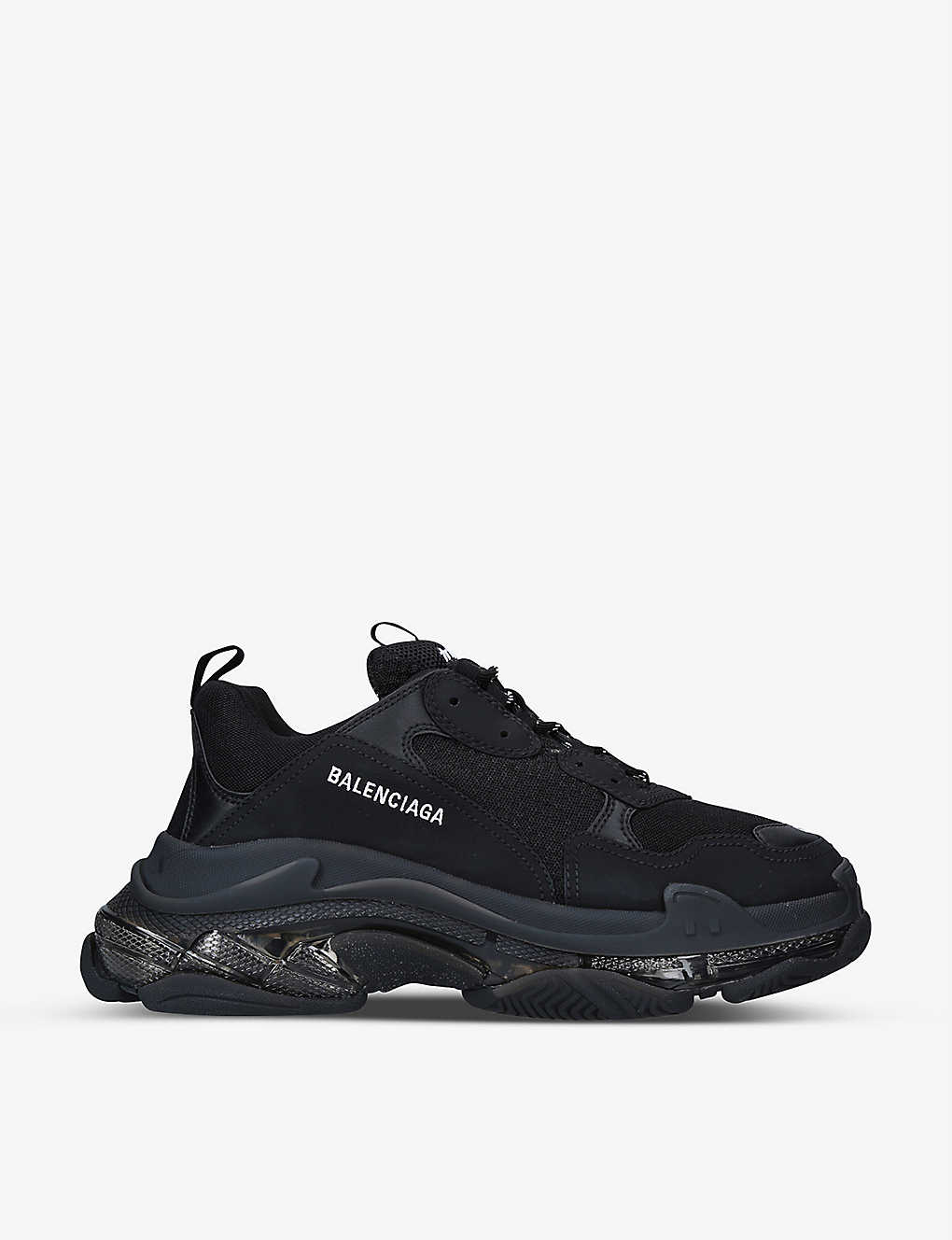 BALENCIAGA: Triple S leather and mesh mid-top trainers