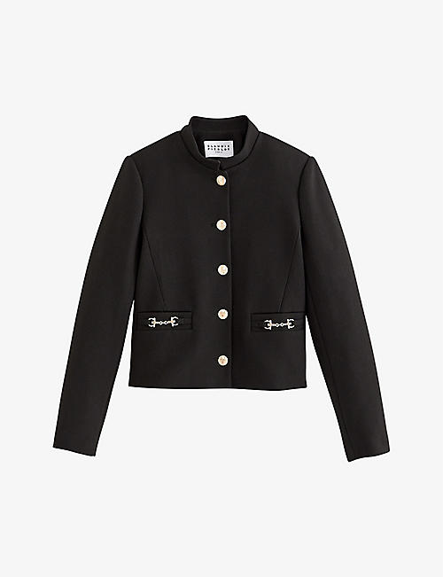 CLAUDIE PIERLOT: Veggie jewelled-button straight-fit crepe jacket