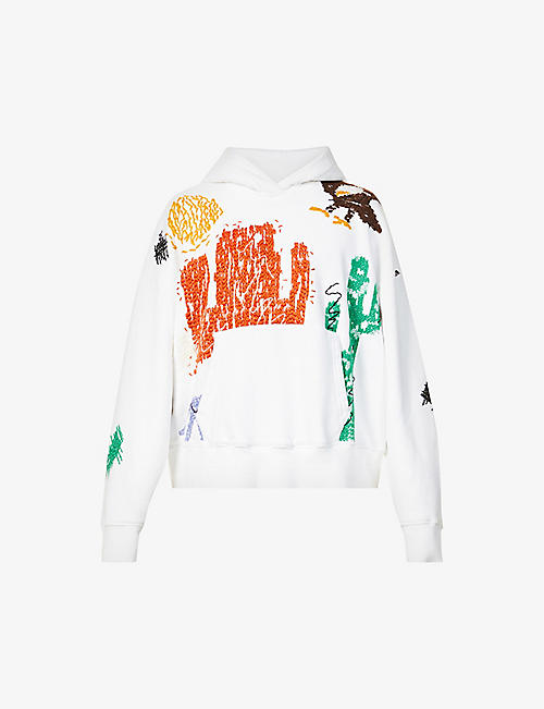PALM ANGELS: New Folk abstract-pattern cotton-jersey hoody