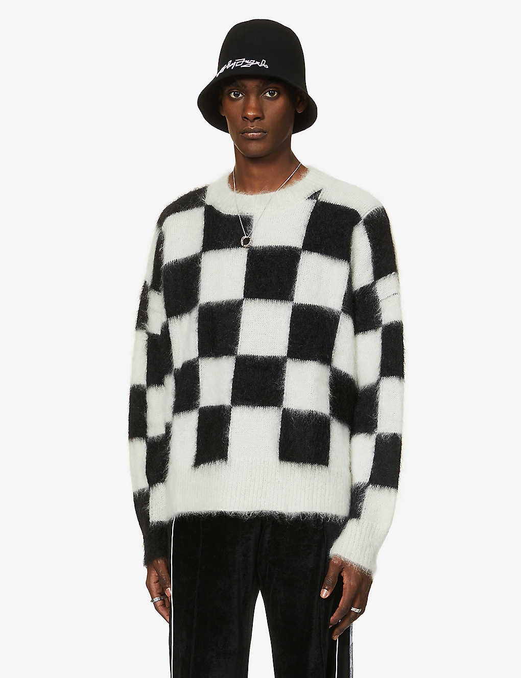 PALM ANGELS: Damier checked mohair-blend jumper
