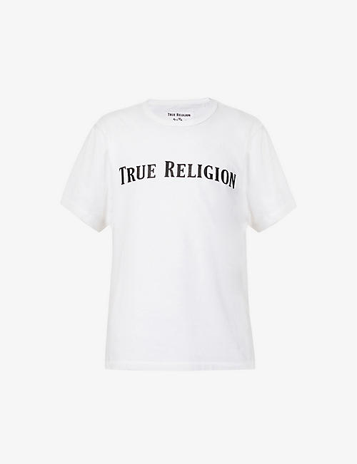TRUE RELIGION: Brand-print raw-trim cotton-jersey T-shirt