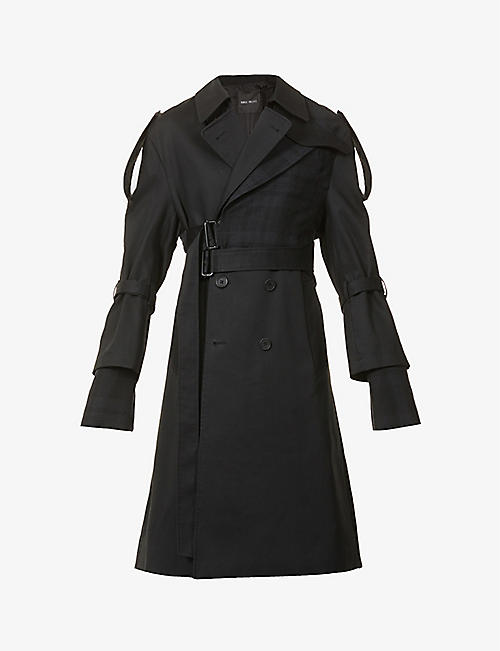 DANIEL POLLITT: Double-breasted belted cotton and wool coat