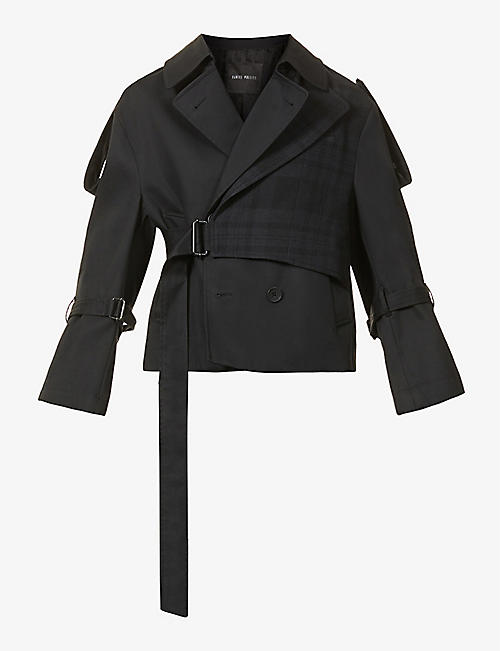DANIEL POLLITT: Cropped cotton and wool trench coat