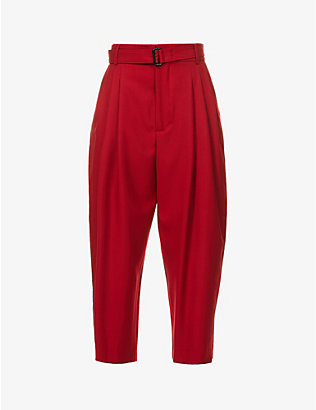 DANIEL POLLITT: Columbo belted tapered high-rise wool trousers