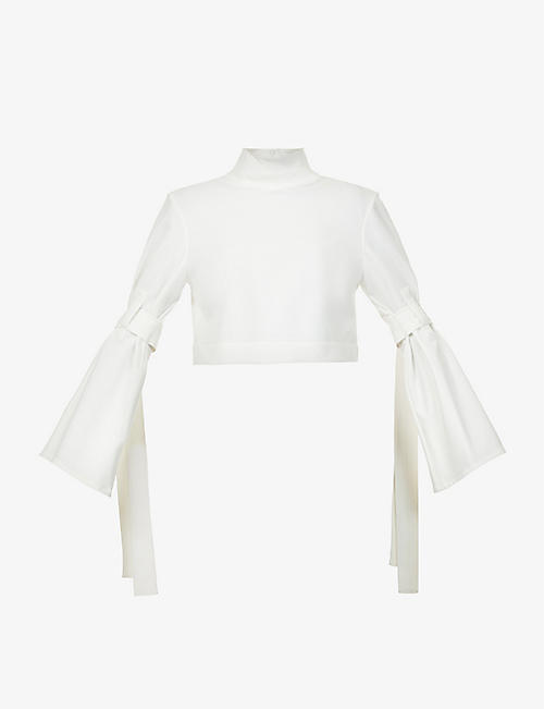 DANIEL POLLITT: Funnel-neck flared-cuffs stretch-woven top