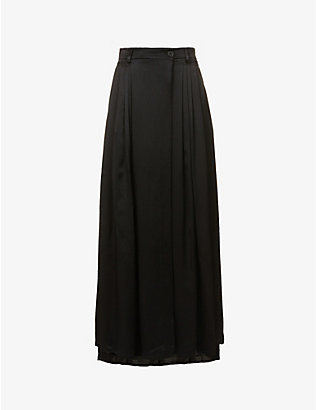 DANIEL POLLITT: Pleated high-waist silk midi skirt