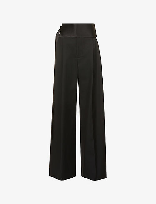 DANIEL POLLITT: Wide-leg high-rise woven trousers