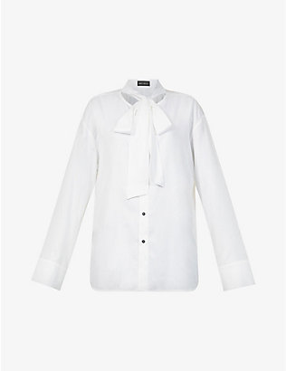 DANIEL POLLITT: Self-tie collar relaxed-fit silk shirt