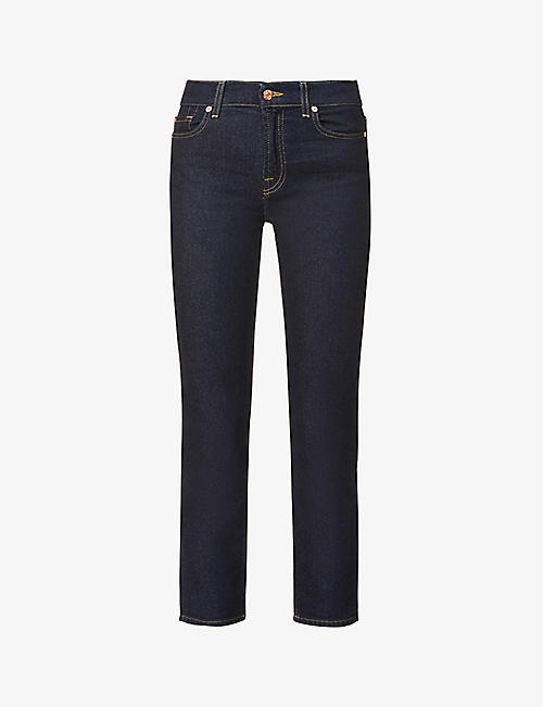 7 FOR ALL MANKIND: The Straight Crop mid-rise straight stretch-denim jeans