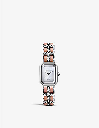 CHANEL: H6359 Première Rock steel, leather and mother-of-pearl watch