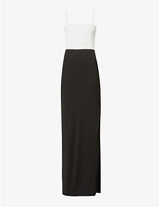 GALVAN: Two-tone crepe maxi dress