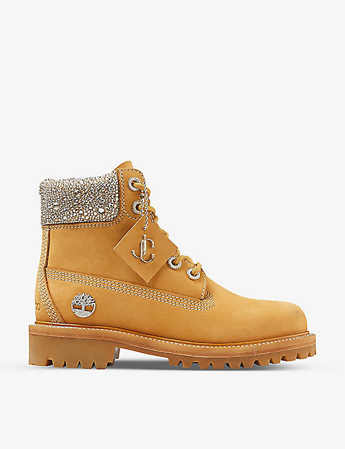 "JIMMY CHOO: Jimmy Choo x Timberland Premium 6"" Swarovski crystal and leather ankle boots"