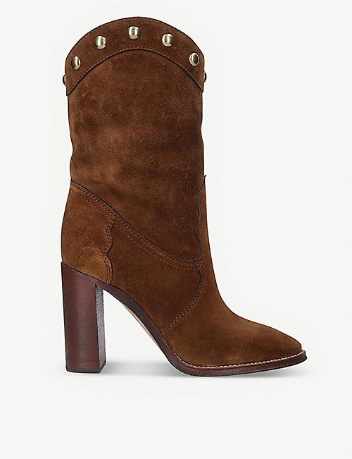 SAINT LAURENT: Kate studded suede heeled boots