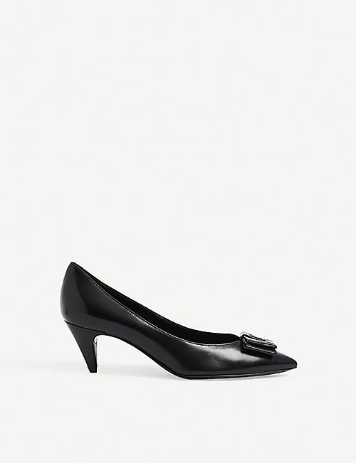 SAINT LAURENT: Pierrot 55 leather heeled pumps