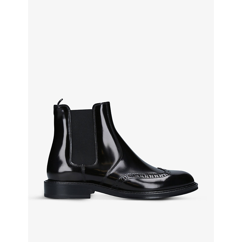 Saint Laurent CERIL BROGUE-DETAIL LEATHER CHELSEA BOOTS