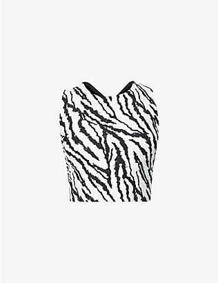 MICHI: Mystic zebra-print stretch-woven sports bra
