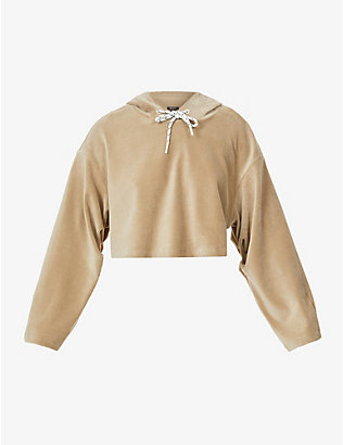 MICHI: Hygge cropped cotton-blend hoody