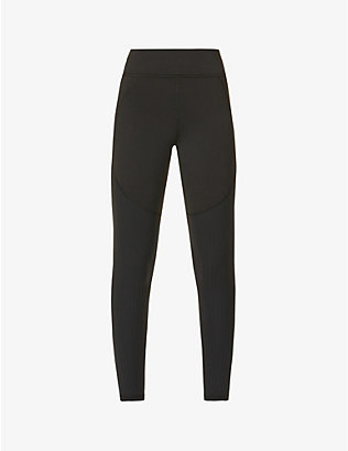 MICHI: Mystic ribbed stretch-woven leggings