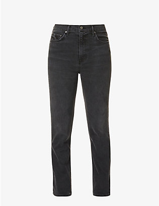 GRLFRND: Reed straight slim-fit high-rise jeans