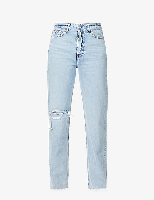 GRLFRND: Mica distressed high-rise straight leg jeans