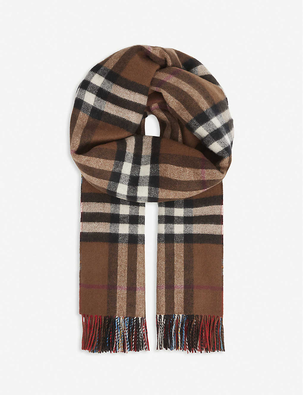 BURBERRY: Reversible check cashmere scarf