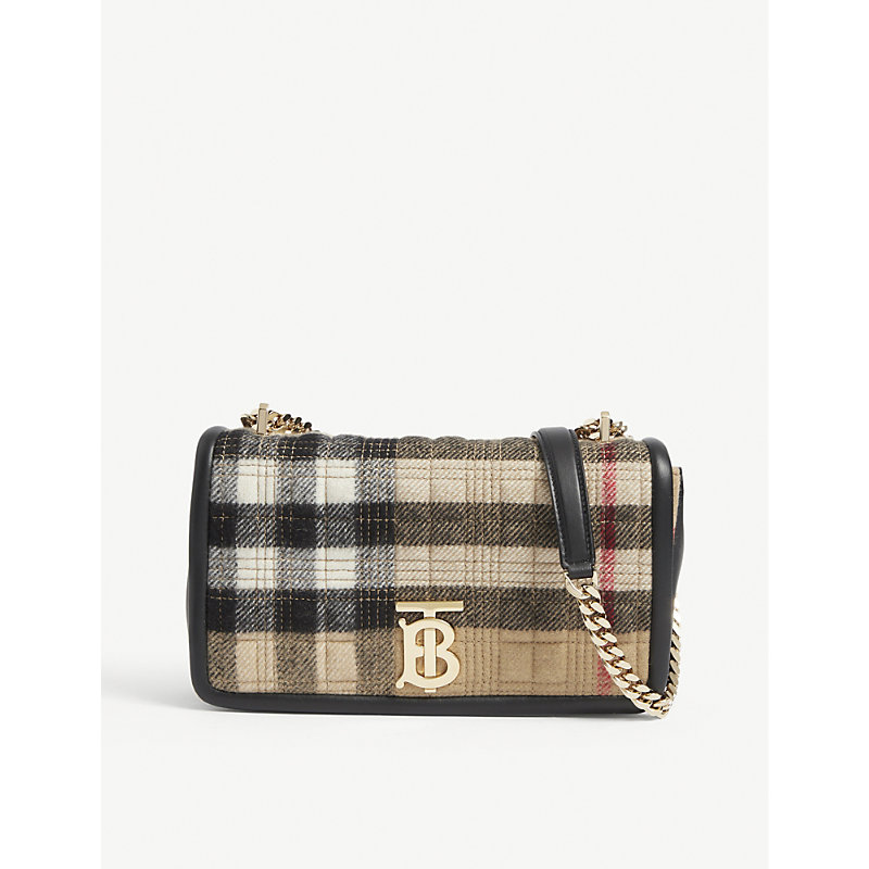 BURBERRY LOLA CHECK-PRINT BRANDED CASHMERE SHOULDER BAG