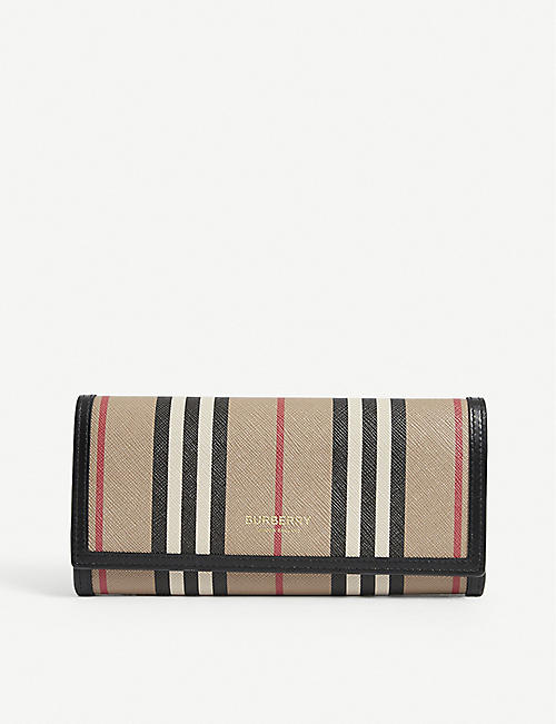 BURBERRY: Icon Stripe eco-canvas continental wallet