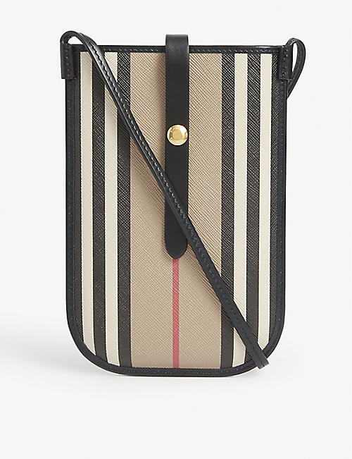 BURBERRY: Anne striped canvas phone bag with strap