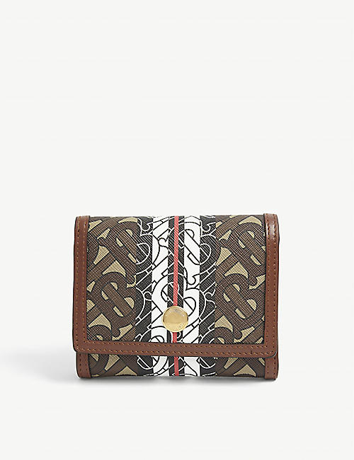 BURBERRY: Lancaster TB monogram tri-fold E-canvas wallet