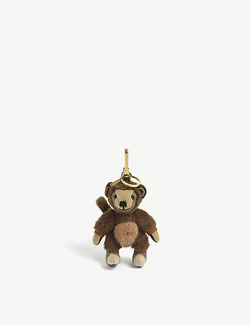 BURBERRY: Thomas Monkey cashmere bag charm