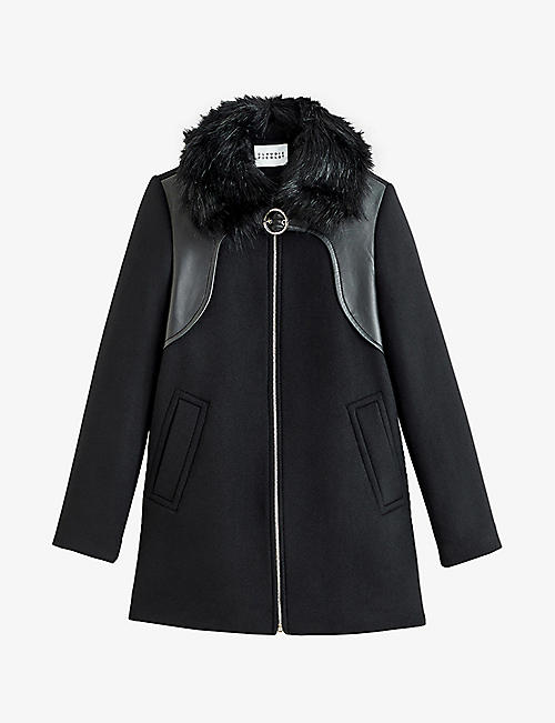 CLAUDIE PIERLOT: Graffite wool leather and faux-fur coat