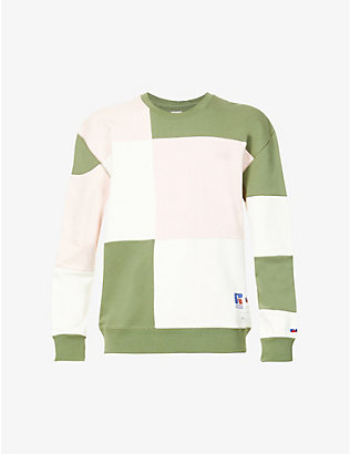 RUSSELL ATHLETIC: Contrast-panel crewneck organic-cotton sweatshirt