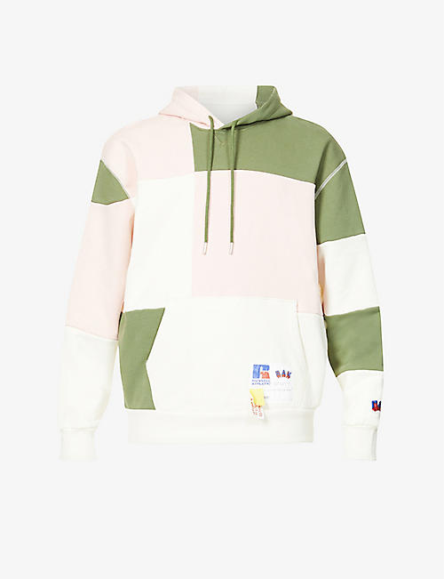 RUSSELL ATHLETIC: Contrast-panel dropped-shoulder organic-cotton hoody