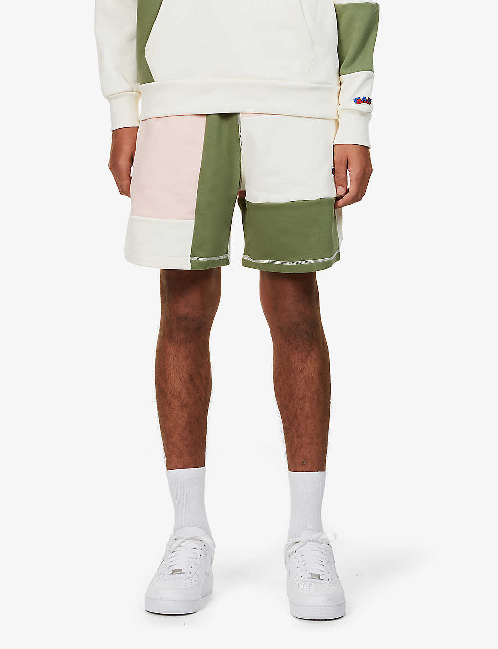 RUSSELL ATHLETIC: Contrast-panel relaxed-fit organic-cotton shorts