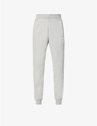 ADIDAS: Three-stripe cotton-jersey tapered jogging bottoms