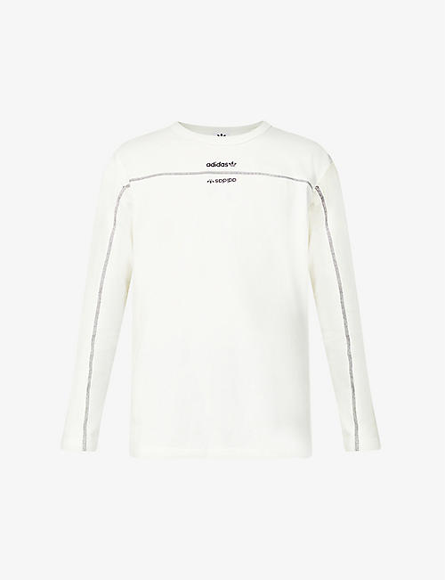 ADIDAS: Upside-down logo cotton-jersey top