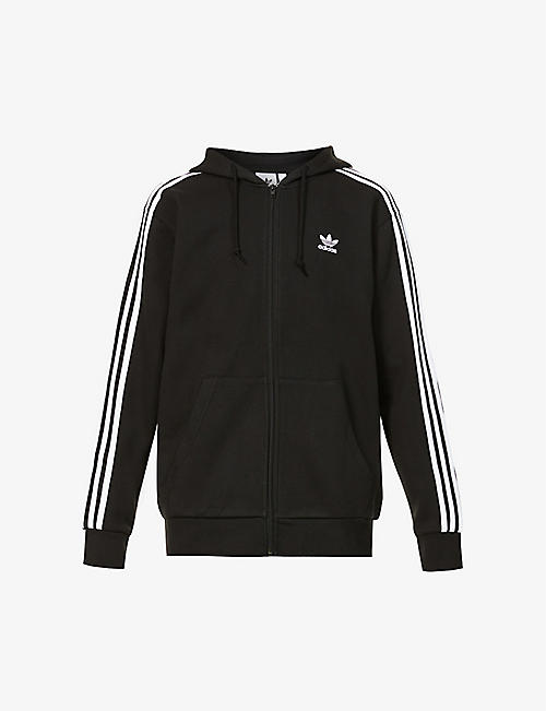 ADIDAS: Three-stripe cotton-blend jersey hoody